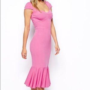 Pink Midi Peplum Hem Dress